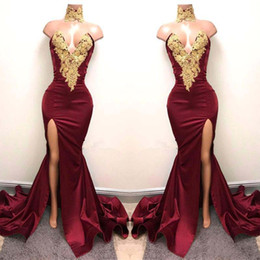 Wholesale Prom Gowns Designs - 2K18 Sexy Burgundy Prom Dresses with Gold Lace Appliqued New Design Mermaid Side Split For 2018 Satin Long Party Evening Wear Gowns