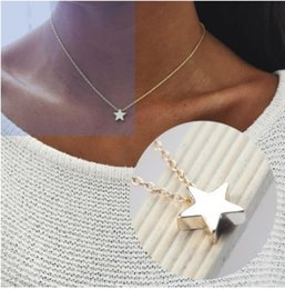 Gargantilla declaración collar plata online-Elegantes para mujer Nacklaces 3D Star Silver / Gold Tone Gargantilla Collares Declaración Collares Regalos de estilo gótico para niñas / damas