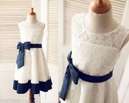 Encaje de marfil / azul marino raya de raso vestido de niña de flores vestido de fiesta de boda desde fabricantes