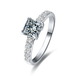 Wholesale 925 Silver Semi Mount - Wholesale 1CT Excellent Cut Princess Synthetic Diamonds Ring 925 Women Engagement Micro Paved Sterling Silver Jewelry Semi Mount