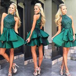 Wholesale Satin Emerald Green Dresses - Custom Made Emerald Green Short Prom Dresses High Neck Beaded Satin Mini Homecoming Dresses Charming Cocktail Party Dress