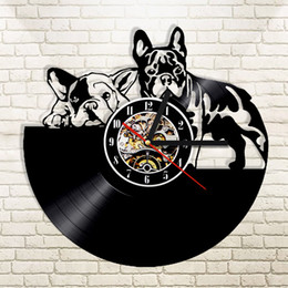 Wholesale Lps Animals - 1Piece Dog Couple Vintage Vinyl LP Record Wall Clock Pet Puppy Home Decor Animals CD Retro Timepiece Clocks Gift For Dog Lover