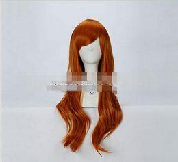perucas de cabelo rainha Desconto Frete grátis +++ Laranja Ondulado Longo Estilo Moda Mulheres Lady Girl Anime Peruca de Cabelo Cosplay rainha Kanekalon cabelo perucas frente rendas