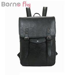 Wholesale Backpack Teenagers - BERNOFLY Brand Vintage PU Leather Men Backpack Large Capacity Laptop Bag pack Man Travel Bag School Backpacks For Teenagers