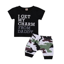 Wholesale boys outfits sets - Mikrdoo Kids Baby Boy Summer Fashion Clothes Set Black Short Sleeve Letter Printed T-Shirt Top + Camouflage 2PCS Outfit