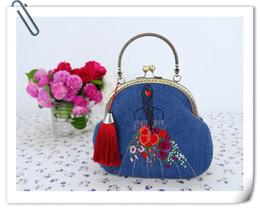 Regalo della ragazza di San Valentino Regalo della mano Ricamo a mano Stile cinese Signora creativa Bella carina affascinante Borsa a tracolla Una mini borsa di jeans da