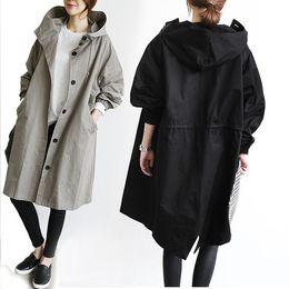 Trinchera de las mujeres abrigo con capucha manga larga otoño gabardina abrigo largo abrigo rompevientos casual solo pecho ropa streetwear desde fabricantes