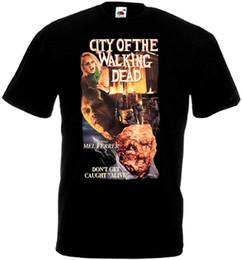 2019 kostüm ver City of the Walking Dead T-Shirt Schwarzes Filmplakat in allen Größen S-3XL Ver.3 T-Shirt Männer Männliches Kostüm Kurzarm Crewneck Baumwolle günstig kostüm ver