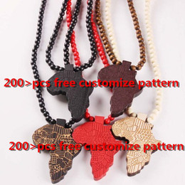 animal wood necklace Coupons - Fashion Wood Made Stylish Africa Map Pendant Hip Hop Beads Long Chain Men Wooden Pendants Necklaces Jewelry Gift S1003