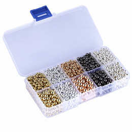 Tibetische perlen für schmuck machen online-4mm 5mm Lot 1500 Stücke Gold Ton Tibetischen Silber Perle CCB Kupfer Beschichtete Legierung Perle Schmuck Machen Charme DIY Handwerk D833L