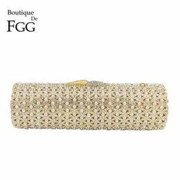 Bolso hueco online-Boutique de FGG ahueca hacia fuera el moldeado cristalino del oro de las mujeres de la tarde Minaudiere Bolsas fiesta de la boda bolso de novia Mini monedero del embrague