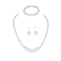Deutschland Frauen Dame Halskette + Armband + Ohrringe Kit Hochzeit Braut Klassischen Nachahmung Perlenschmuck Set CX17 cheap wedding jewelry kits Versorgung