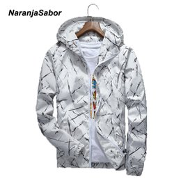 white waterproof clothing Promo Codes - NaranjaSabor 2017 Spring Autumn Mens Hoodies Casual Jacket Waterproof Men's Brand Clothing Men's Windbreaker Coat Male Outwear