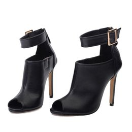 Wholesale Sexy Floral Heels - Gladiator Women Pumps Ladies Sexy Buckle Strap Roman High Heels Open Toe Sandals Party Wedding Shoes Size 35-40 Black
