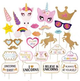 Wholesale Photo Props Kit - Glitter Unicorn Photo Booth Props Kit Decoration Girl Birthday Party Supplies Fun Wedding Hen Night Rainbow Pegasus photography Props