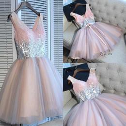 5cab2be3d8 2019 lentejuelas de vestido corto rosa Fotos reales vestidos de fiesta de  color rosa una línea