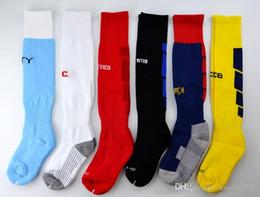 Wholesale over knees knit stocking - 2018 Kid's Soccer Socks Real Knee High Stocking Madrid chelsea Thicken Towel Bottom Long Hoses Inter sports socks Milan football stocking