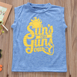 "Wholesale Toddler Boys Halloween Shirts - INS Summer Toddler Kids T-shirt Clothes Sleeveless ""Sun Out"" print Letter Print Baby Boy Clothing T-shirt Vest Children Blusa Tops 1-5T"