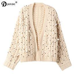 Женские жакеты ручной работы онлайн- Handmade Pearl Beading Thick Winter Cardigan Female 2018 New Twist Design Oversize Wool Sweater Women Jacket Sweet Jumper