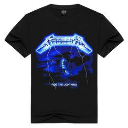 Wholesale metallica top - Men Women Rock band Metallica t shirt ride the lightning tshirts Summer Tops Tees T-shirt Men Thrash Metal t-shirts Plus Size