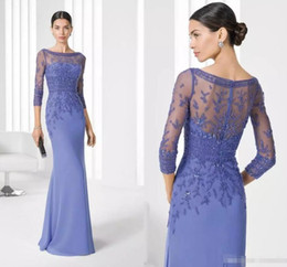 Wholesale Cheap Womens T Shirts - 2018 Chiffon Mother's Dress For Ladies Womens Cheap 3 4 Sleeves Bateau Mother of Bride Dresses Wedding Party Formal Evening Gowns