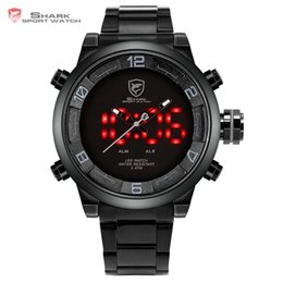 Wholesale Shark Sport Watch Black - Gulper Shark Sport Watch Large Dial Black Outdoor Men LED Digital Wristwatches Waterproof Alarm Calendar Fashion Watches  SH364
