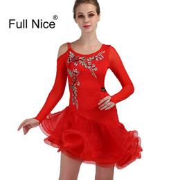 Новый красный латинский танец платья производительность танцевальные костюмы спандекс / органза оборками / кристаллы стразы с длинным рукавом высокое платье от