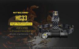 Wholesale Nitecore Flashlights - NITECORE HC33 1800 LMs Headlamp 18650 Rechargeable Battery Waterproof Flashlight Outdoor Camping Hunting Search Travel 8 modes headlight