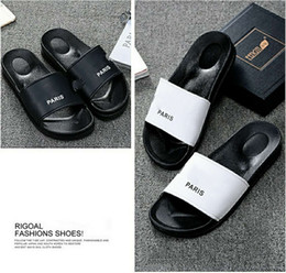Wholesale Black Leather Moccasin - Paris Sandals Brand Slippers Causal Slide Stripe Design Huaraches Flip Flops Loafers Scuffs Beach by Free DHL Shoe001
