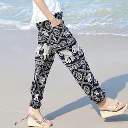8b5de80499 Pengpious 2018 Verano venta caliente nuevo Boho impreso pantalones de  algodón sueltos pantalones elefante impresión elástico dobladillo cintura  con ...