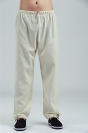 Wholesale Tai Chi Clothing Linen - Shanghai Story traditional chinese clothing Men's Linen Pants Long Trousers for Man tai chi Kungfu Pants Wushu Clothing