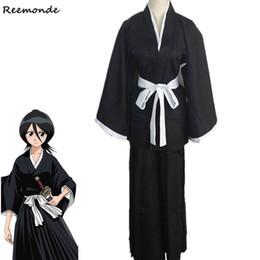 c1f9e772e Anime Bleach Die Pa Cosplay Costumes Black Kurosaki Lchigo Robes Cloak Coat  Sleeve Kimono For Adult Men Boys Halloween Party