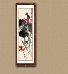 Dipinti inchiostro online-Pittura di paesaggio cinese Calligrafia Lotus Ink Lavagna dipinti Fiore e uccello Decorativo Vecchia collezione Artigianato senza cornice 42yj jj
