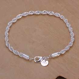 0ab15dafe Silver exquisite twisted rope bracelet fashion charm chain women men solid  wedding cute hot simple models jewelry H207