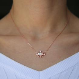 collana minima Sconti collana opalina luna oro rosa placcato argento 925 catena delicata catena europea minimal delicato ciondolo catena opale gioielli