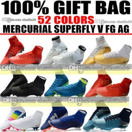 Wholesale White Gold Toe Socks - New High Tops 2018 Soccer Cleats Socks ACC Mercurial Superfly V FG AG Football Boots Mercurial Superfly CR7 Ronaldo Neymar JR Soccer Shoes
