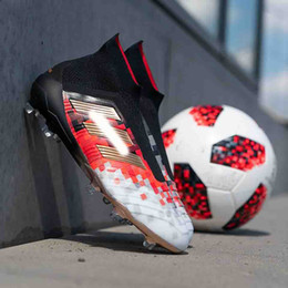 Wholesale gold ankle - 2018 Soccer Cleats Mercurial Superfly Predator 18+x Pogba FG Accelerator DB Soccer Shoes High Ankle Cristiano Ronaldo Mens Football Boots