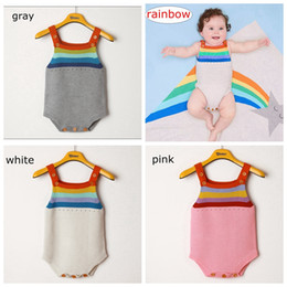 Wholesale baby girl striped sweaters - INS Cute Striped Rainbow Newborn Baby Girls Boys Sleeveless Knitted Cotton Romper Jumpsuit Sweater Outfit Clothes 0-2Years free ship