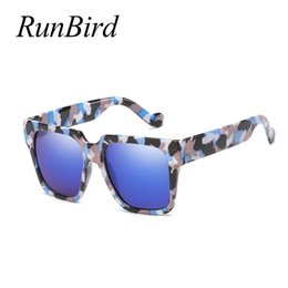 7640a3dd0a7 RunBird Oversized Square Sunglasses Women Vintage 2019 Big Frame Black Sun  Glasses for Women Mirror Decoration Uv400 5343 R