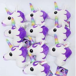 Wholesale soft toy doll keychain - Unicorn Plush Dolls Stuffed Toys For Bag Rainbow Soft King Decoration Hourse Cartoon Animal Doll keychain Pendant KKA4829