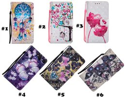 Wholesale 3d Huawei Phone Case - New clamshell fashion 3D painting pattern leather wallet phone case for iPhone X 8 7 Note8 S9 Huawei LG wallet with card slot