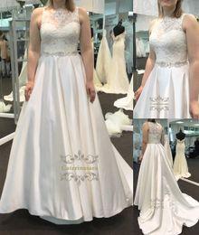 Wholesale Empire Waistline Dress - Fantastic Satin Bateau Neckline Basque Waistline A line Wedding Dress With Beadings Crystals waistline Plus Size Bridal Wedding Gowns