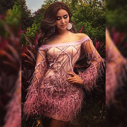 Wholesale zuhair murad cocktail - Evening dresses 2017 Yousef aljasmi Sheath Pink Feather Sequines Short dress Zuhair murad Labour joisie Charbelzoe Long sleeve hhhsky