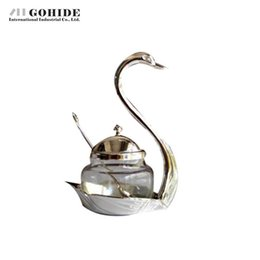 Wholesale Sugar Glass Jars - Wholesale- Gohide Storage Bottles Silver Sauce Pot Seasoning Bottle Swan Shape Base Glass Sugar Bowl With Spoon Glass Jars With Cover