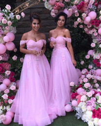Wholesale Romantic Evening Dresses Women - Romantic Pink Off the shoulders Bridesmaid Prom Dress Long With Short Sleeves Applique Cheap Wedding Guest Evening Formal Dresses For Women
