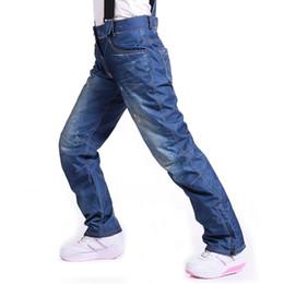 Wholesale Snow Ski Board - Wholesale- Hot Sale Jean Snowboard Pants Suspenders Denim Ski Pants Skate Snow Board Waterproof Thermal Pants Adult Pantalones for women