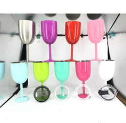 Wholesale glass ball globe - 9 color 10oz Wine Glasses Goblet Cup stainless Steel Vacuum Double Wall Insulated thermo Mug Drinkware With Lid