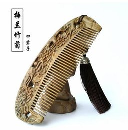 Wholesale White Jade Carvings - Green Sandalwood comb, wood carving, jade sandalwood, anti static girlfriend, mother's day, birthday gift, gift