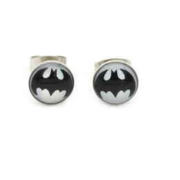 Aretes de acero quirurgico online-Negro Batman Ear Stud Hero studs de acero quirúrgico Pendientes 8mm Wholesale Ear Pin Popular diseño
