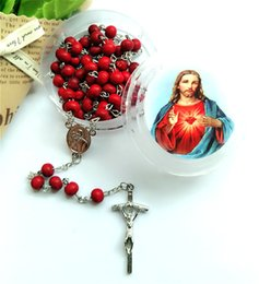 Wholesale pendant religious - Religious Jewelry Red Aroma Wood Bead Catholic Prayer Beads Crucifix Cross Pendant Rosary Necklace Christmas Easter Gifts